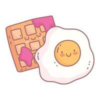 huevo frito y gofre con mermelada menú restaurante dibujos animados comida linda