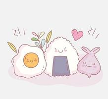 fried egg sushi and menu restaurant food cute vector