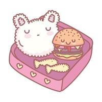 rice hamburger tempura fishes menu restaurant food cute vector