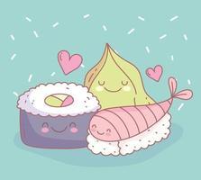 sushi fish and wasabi menu restaurant food cute vector