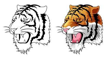Página para colorear de dibujos animados de cabeza de tigre para niños vector