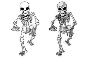 Página para colorear de dibujos animados de esqueleto para niños vector
