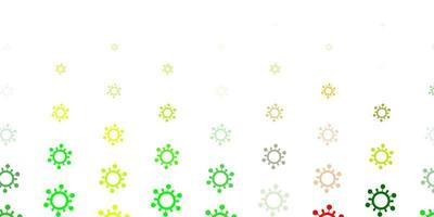 Light Green, Yellow vector background with covid-19 symbols.
