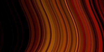 Fondo de vector naranja oscuro con líneas curvas.