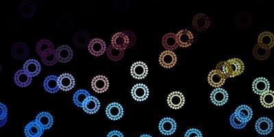 Telón de fondo de vector azul oscuro, amarillo con símbolos de virus