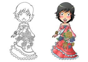 Girl in flower dress cartoon coloring page for kids vector
