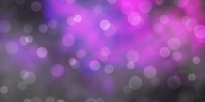 Dark Purple vector background with circles.