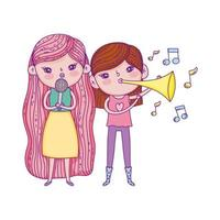 happy childrens day, girls sing with microphone and trumpet outdoors vector