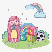 happy childrens day, cute girl sing with microphone block ball park vector