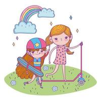 happy childrens day, girls with scooter and skateboard outdoor vector
