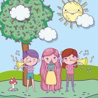 feliz día del niño, niños con micrófono y parque musical de trompeta vector