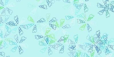 plantilla abstracta de vector azul claro, verde con hojas.