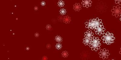 plantilla de doodle de vector rojo claro con flores.