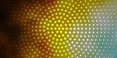Plantilla de vector azul claro, amarillo con estrellas de neón.