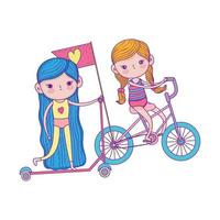 happy childrens day, cute girls riding bike and scooter in the park vector