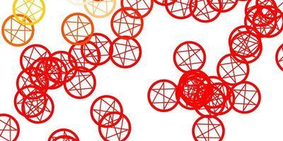patrón de vector rojo, amarillo claro con elementos mágicos.