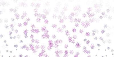 diseño abstracto de vector púrpura claro, rosa con hojas.