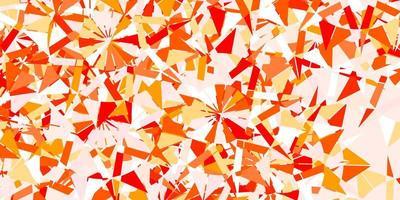 textura de vector rojo, amarillo claro con copos de nieve brillantes.