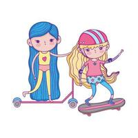 happy childrens day, little girls with scooter bike and skateboard in the park vector