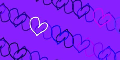 Light Purple, Pink vector texture with lovely hearts.