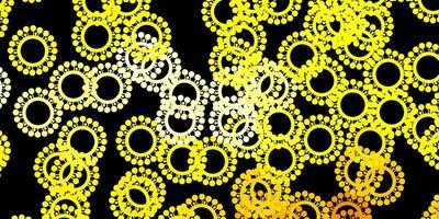 Telón de fondo de vector amarillo oscuro con símbolos de virus.