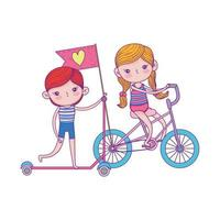 happy childrens day, boy riding scooter and girl with bike outdoor vector