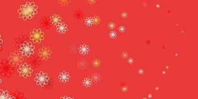 Fondo de doodle de vector rojo, amarillo claro con flores.