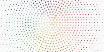 patrón de vector verde claro, rojo con estrellas abstractas.