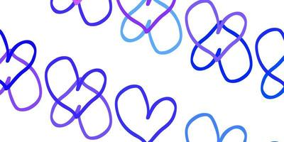 Light Purple vector background with Shining hearts.