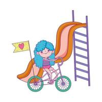 happy childrens day, girl playing in slide and girl riding bike in the park vector