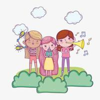 happy childrens day, band musical kids with microphone and trumpets vector