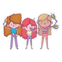 happy childrens day, band musical girls with microphone trumpet and maracas vector