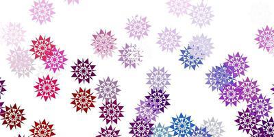 textura de vector rosa claro, verde con copos de nieve brillantes.