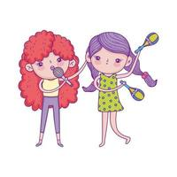 happy childrens day, little girls with microphone and maracas music vector