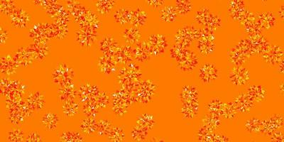 textura vector naranja claro con copos de nieve brillantes.