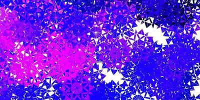 plantilla de vector de color púrpura claro, rosa con copos de nieve de hielo.