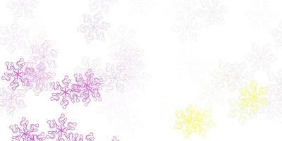 Telón de fondo natural de vector rosa claro, amarillo con flores.