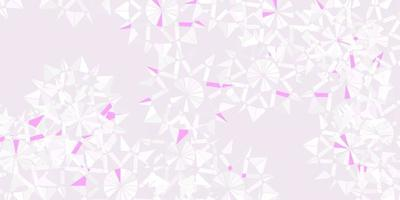 textura de vector púrpura claro con copos de nieve brillantes.