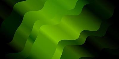 Dark Green vector background with bent lines.