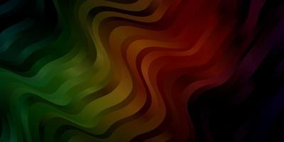 Dark Green, Red vector background with curved lines.