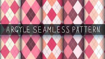 Seamless tartan, argyle, and plaid pink pattern set vector