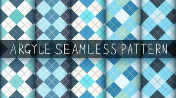 Conjunto de patrones de tartán, argyle y cuadros azules sin costuras vector