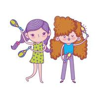happy childrens day, girls with microphone and maraca music outdoor vector