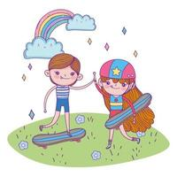 happy childrens day, cute boy and girl with skateboard in the grass vector
