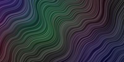 Telón de fondo de vector multicolor oscuro con líneas dobladas.