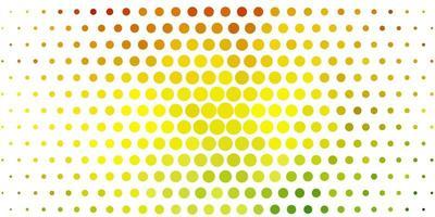 Fondo de vector verde claro, amarillo con círculos.