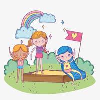 feliz día del niño, niñas jugando en el patio de arena al aire libre vector