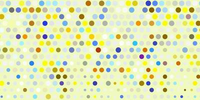 Fondo de vector azul claro, amarillo con burbujas.