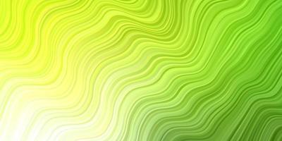 patrón de vector verde claro, amarillo con líneas torcidas.