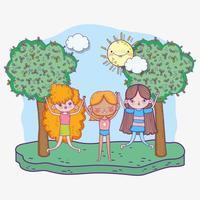 feliz día del niño, niñas cogidas de la mano en el parque vector